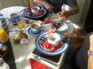 Fresh fruit and Greek yoghurt breakfast