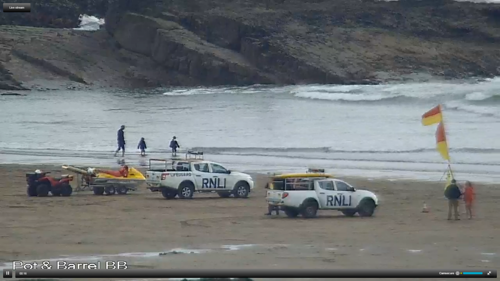 image-2 RNLI on duty at Summerleaze Beach Bude, Cornwall.